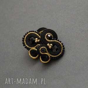 czarno-złote kolczyki sutasz, sznurek