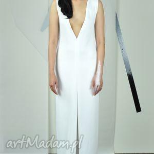 LOSSE - biała suknia, wieczorowa, dekolt, rozcięcia, koktailowa, unikat
