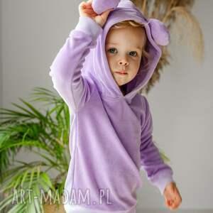 wyjątkowy prezent, dres lawendowy - welur, dziewczynka, rękodzieło