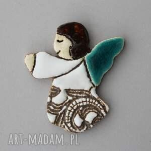dla dziecka aniołek - magnes ceramiczny, minimalizm, komunia, chrzest, pamiątka