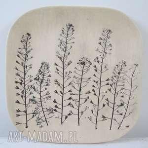 roślinny talerz ceramiczny, z-roślinami, patera-roślinna, ceramiczna, dekoracyjna