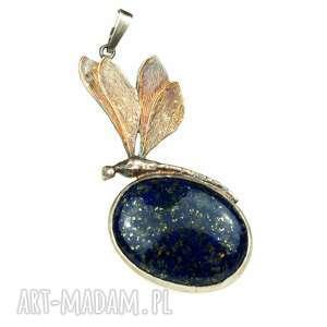 a478 Srebrna Ważka z lapis lazuli, naszyjnik, srebro, kamień