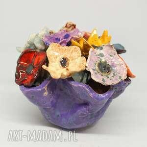 piękny komplet donica i kwiaty ceramiczne 10szt handmade