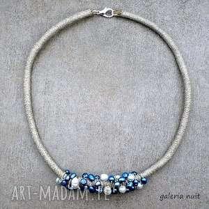 Perły i len v. 2 - naturalny naszyjnik, perełki, perły, hodowlane, lekki, elegancki