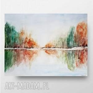 pejzaż jesienny ii-akwarela 40/30 cm, pejzaż, drzewa, akwarela