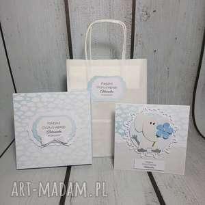 scrapbooking kartki zestaw słonik w chmurkach, chrzest, urodziny, roczek, pamiątka