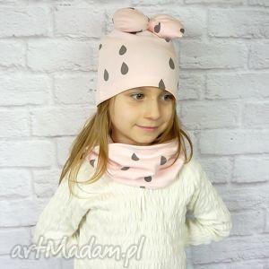 handmade kominy cienki komplet dla dziewczynki, czapka, komin, opaska