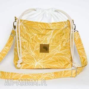 torebki torebka listonoszka musztardowe liście z kominem welur tapicerski