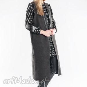 płaszcz długa kamizelka z wstawką z eko skóry - kamizelka, płaszcz