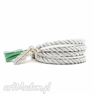 Silver Feather, bransoletki, zawijane, piórko, chwost
