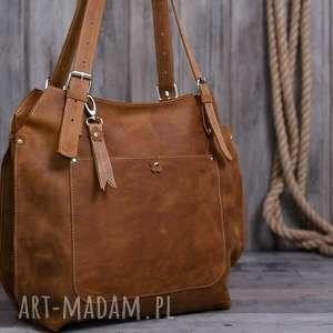 Prezent Ręcznie robiona skórzana torebka rudy brąz, brązowa torebka, damska