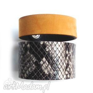 Zestaw dwóch bransoletek skórzanych wężowa żółta, wężowa, żółty, skórzan