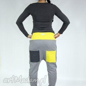 Spodnie Lori - dres (szary limonka), yoga, baggy, alladynki, wygodne, taniec, bawełna