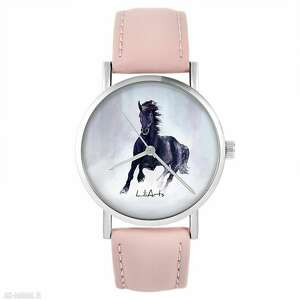 zegarek - czarny koń pudrowy róż, skórzany, zegarek, pasek