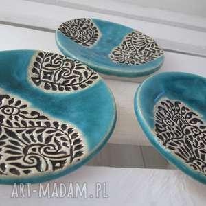 dekoracje etniczna turkusowa fusetka, talerzyk, mały, ceramiczny, etniczny