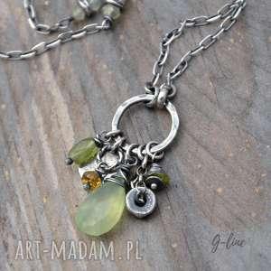 wisiorek w odcieniach zieleni z prehnitem, prehnit, turmalin, srebro, peridot