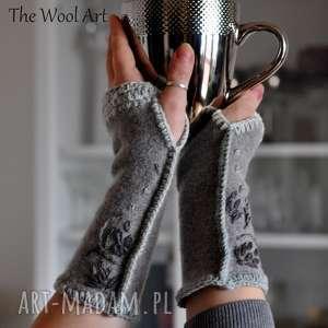 rękawiczki mitenki - rękawiczki, mitenki, wełniane, wiosenne