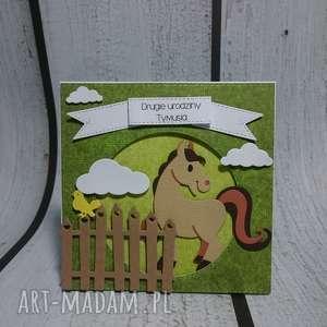 kartka zaproszenie dla miłośnika koników - koń, konik, urodziny, prezent
