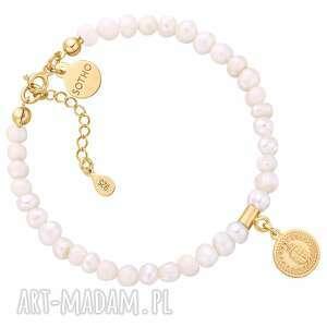 bransoletka z pereł naturalnych ze złotym medalionem - perłynaturalne