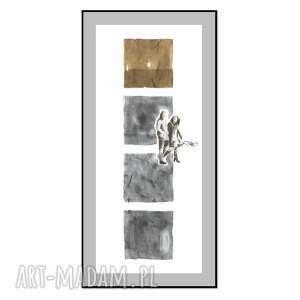 grafika przechodnie iii 70cm x 30cm, ręcznie malowane, oryginał