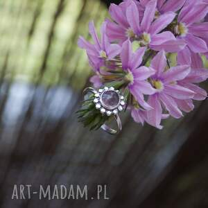 świąteczny prezent, lovely pink, kwarc, truskawkowy, delikatny, pierścionek