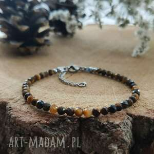hand made bransoletka z tygrysim okiem - autumn forest