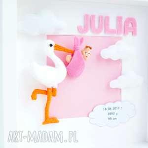 obrazek ramka 3d spersonalizowana metryczka - pokój dziecka - dekoracja