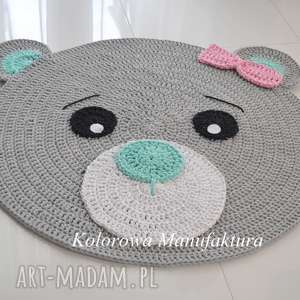 ręcznie wykonane pokoik dziecka dywan misia róż - mięta 100cm