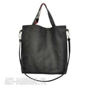 16-0033 czarna duża torebka damska z paskiem na ramię jay, skórzane torby