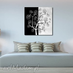 aleobrazy obraz drzewo 7 - 80x80cm na płótnie czarno białe szare, obraz