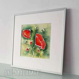 maki na jedwabiu, jedwabny obraz, maki, makowy czerwony łąka
