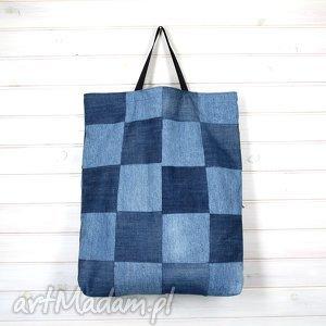 bardzo duża torba dżinsowa patchwork unikatowa, torebka, pojemna, dżinsowa