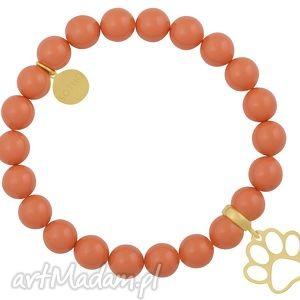 pomarańczowa bransoletka perły swarovski elements ze złotą łapką