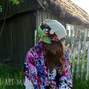 czapka damska dzianina tkanina patchwork, czapka, etno, wzory, boho, rower