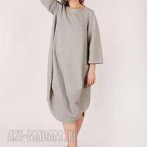 Sukienka z metalicznej dzianiny, oversize, metalik, dzianina, luzna, bawełna