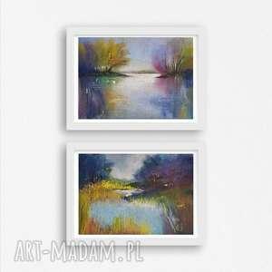 dwa pejzaże-prace wykonane pastelami, pejzaż, papier, pastele