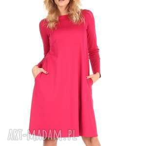 Sukienka rozkloszowana fuksja,długa., lalu, dzianina,
