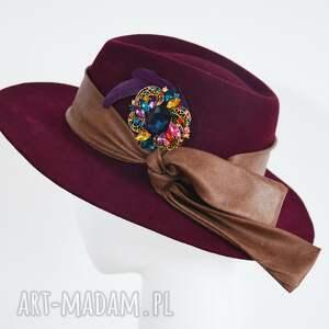 handmade czapki bordo fedora