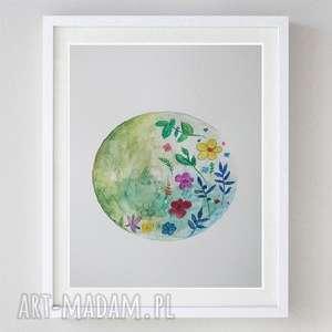 paulina lebida kwiaty -akwarela formatu a4, kwiaty, papier, kredki, zieleń