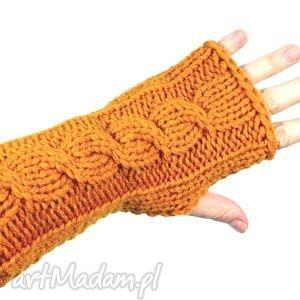 rękawiczki mitenki złote z warkoczem, mitenki, rękawiczki, warkocz, dziergane