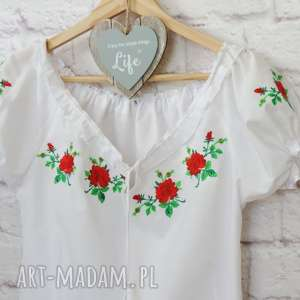 ręcznie robione bluzki haftowana bluzka góralska z bufkami roz. s