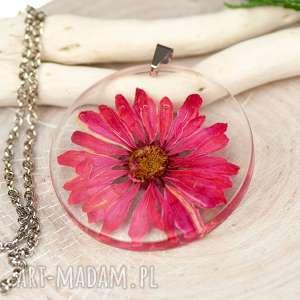 naszyjnik z suszonymi kwiatami w żywicy c443 - biżuteria z żywicy, naszyjnik z