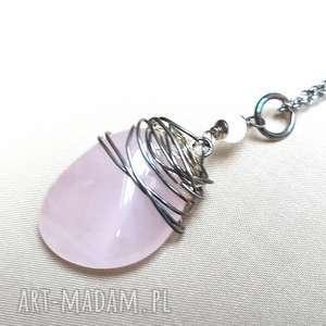 naszyjnik ze srebra i różowego kwarcu - srebro, oksydowane, efektowny, delikatny