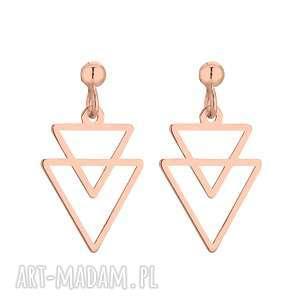 kolczyki z różowego złota podwójne trójkąty sotho
