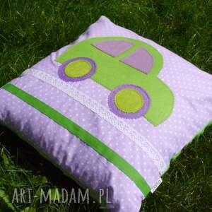 zielone autko i minky - bawełna, autko, filc, koronka, minky, kropki