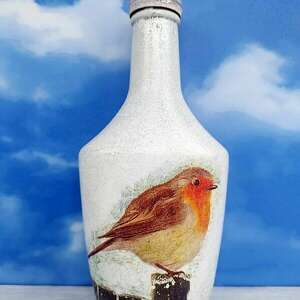 ptak rudzik dekoracyjna butelka z kolekcji vögel im winter - dekoracja szklana