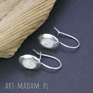 kolczyki opal w srebrze, kolczyki, srebrne, opal, wiszące, ślubne, owale