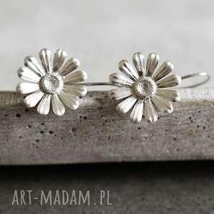925 srebrne kolczyki margaretki, kwiaty, natura, srebro, srebrne, 925