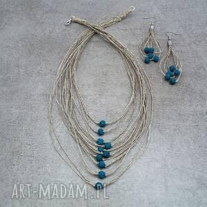 Niebieska lawa - lniana biżuteria, len, lawa, delikatny, lekki, lato, naturalny