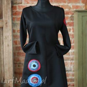 full of colours-sukienka limitowana kolekcja - autorska, oryginalna, midi, trapez, motyw